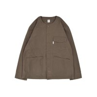 No Collar Utility Shirt Jacket / O.BROWN