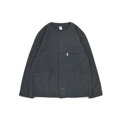 画像1: No Collar Utility Shirt Jacket C.GREY