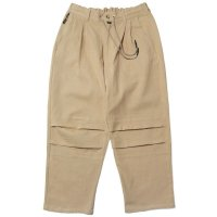 LINEN COTTON TUCK PANT BEIGE